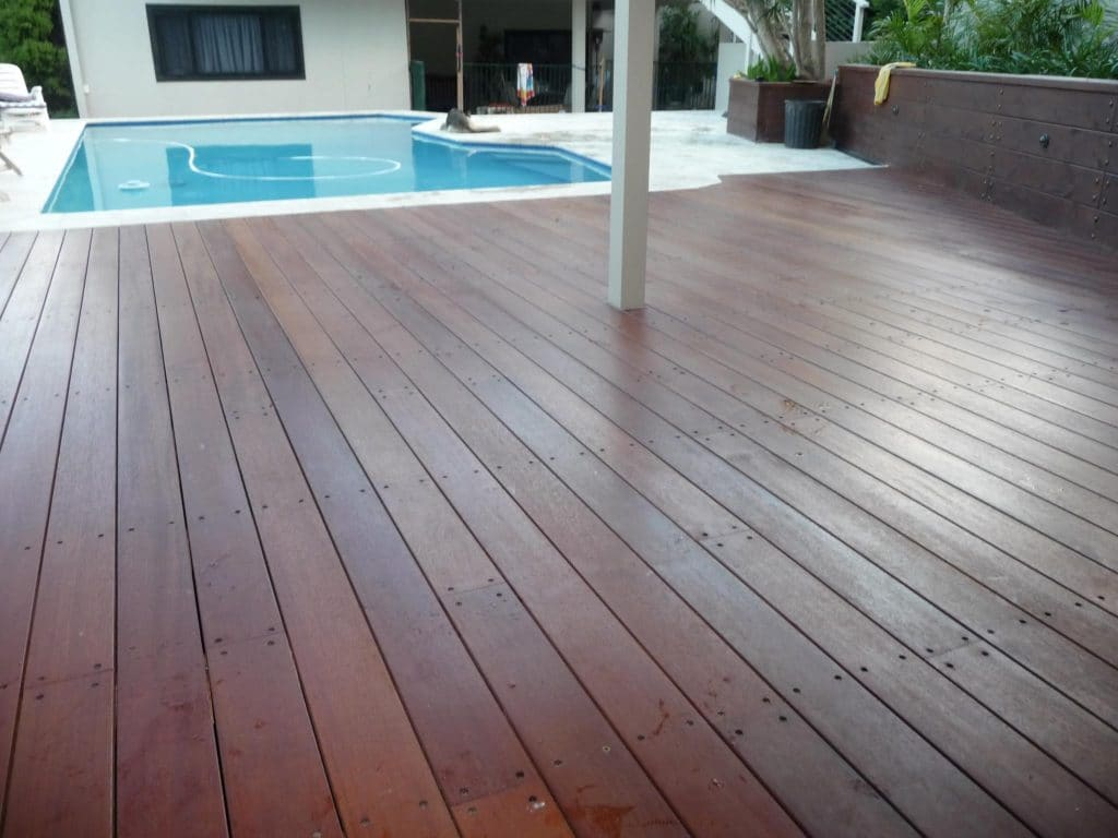 outdoor timber decking by the pool