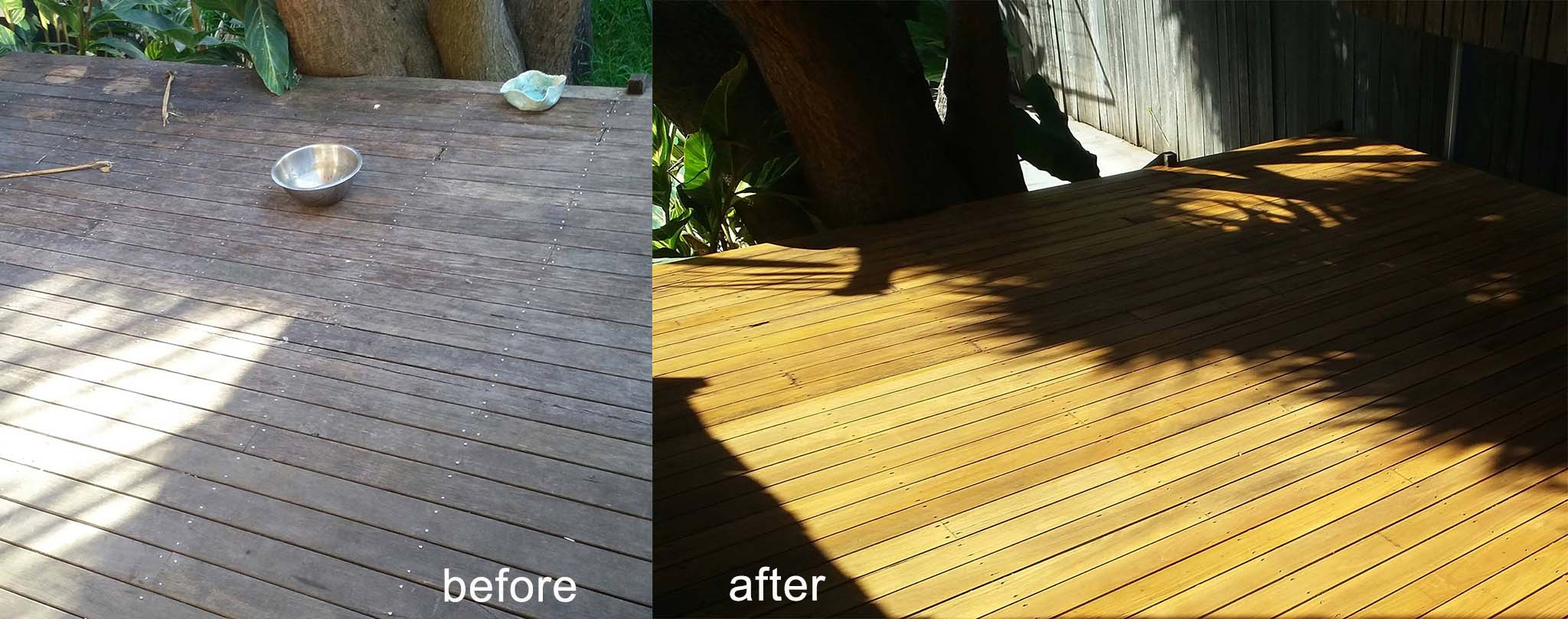 Before and After Outdoor Timber Deck Installation